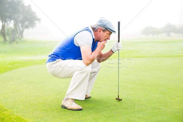 Komoly golfozó térdel zöld ködös nap Stock fotó © wavebreak_media