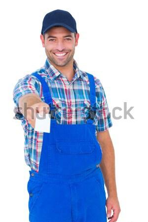 Portre mutlu el ulağı kart beyaz adam Stok fotoğraf © wavebreak_media