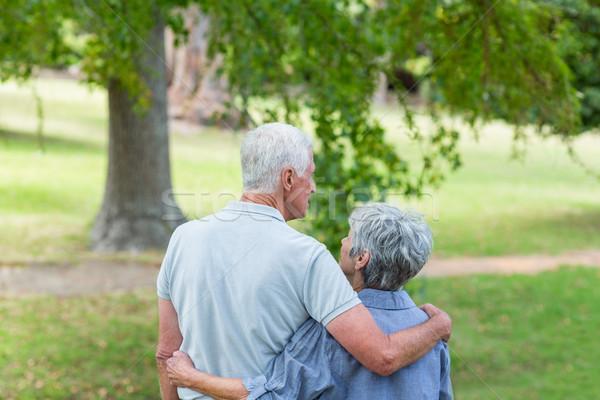 Feliz casal velho sorridente parque mulher Foto stock © wavebreak_media