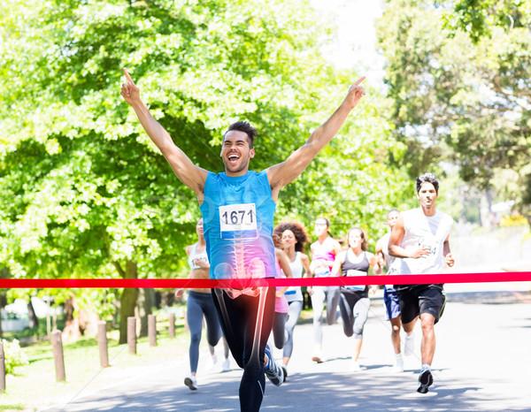 Botten race winnaar digitale composiet straat fitness Stockfoto © wavebreak_media