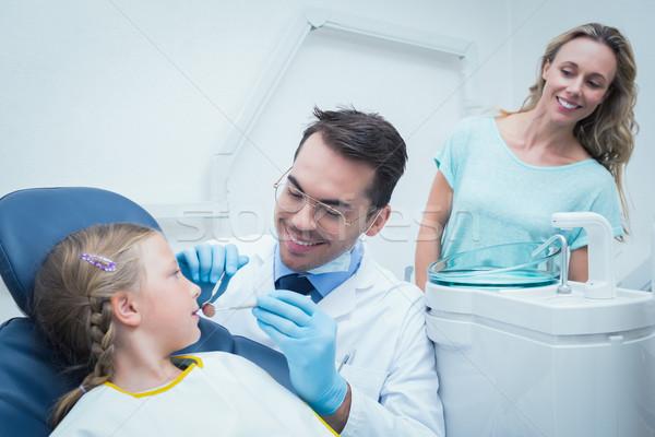Dentist examining girls teeth with assistant Stock photo © wavebreak_media