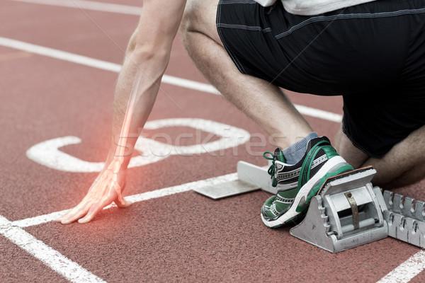 Os homme course composite numérique main fitness Photo stock © wavebreak_media