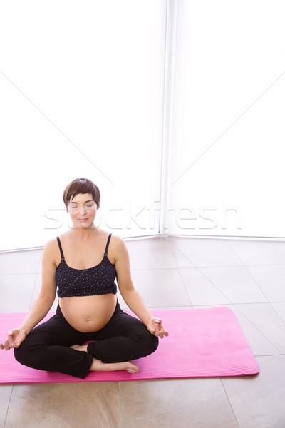 Stock fotó: Terhes · nő · forma · otthon · ház · boldog · egészség