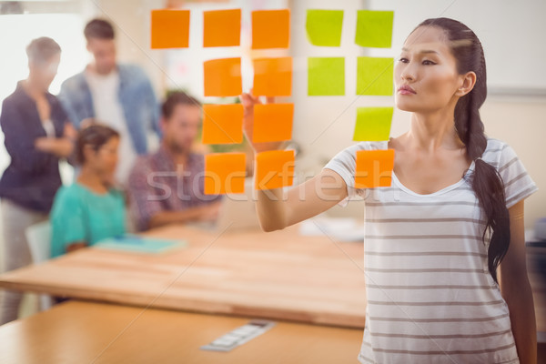 Concentrated businesswoman pointing post its on the wall Stock photo © wavebreak_media