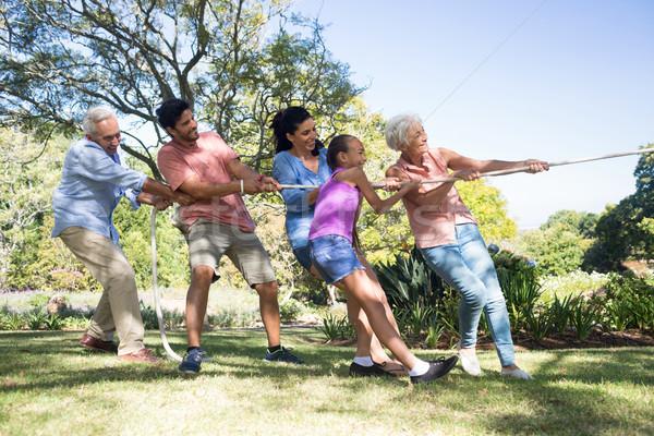 Aile oynama savaş park gülen kadın Stok fotoğraf © wavebreak_media