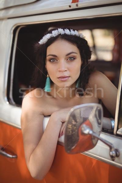 肖像 美人 座って モータ ホーム 森林 ストックフォト © wavebreak_media