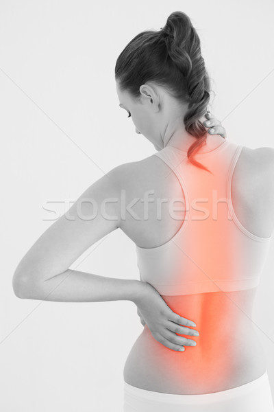 Foto stock: Feminino · sofrimento · dor · nas · costas · branco · saúde