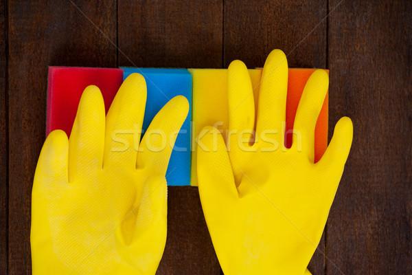 желтый перчатки домой фитнес Сток-фото © wavebreak_media