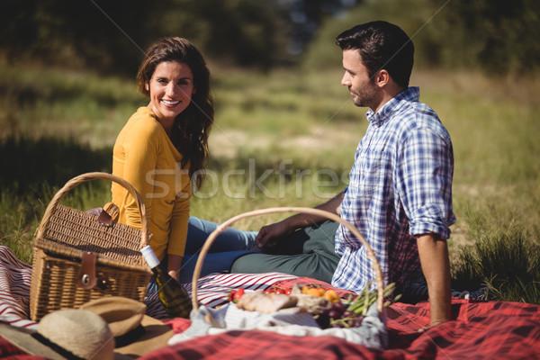 Portré fiatal nő ül fiúbarát piknik pokróc farm Stock fotó © wavebreak_media