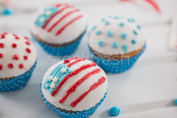Close-up of cupcakes decorated with 4th july theme Stock photo © wavebreak_media