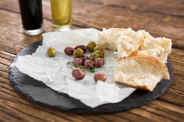 マリネ オリーブ パン スライス トレイ 木製のテーブル ストックフォト © wavebreak_media