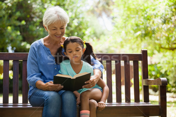 Grandmother reading novel to granddaughter sitting on wooden bench Stock photo © wavebreak_media