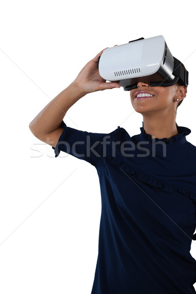 Nő virtuális valóság headset közelkép zöld Stock fotó © wavebreak_media