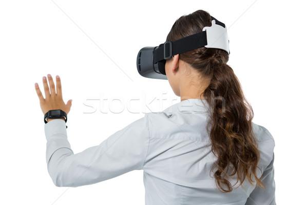 Stok fotoğraf: Kadın · yürütme · sanal · gerçeklik · kulaklık · beyaz