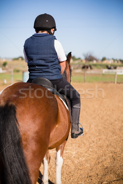 Boy riding a horse in the ranch Stock photo © wavebreak_media