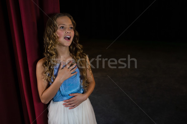 Female artist singing song on stage in theatre Stock photo © wavebreak_media