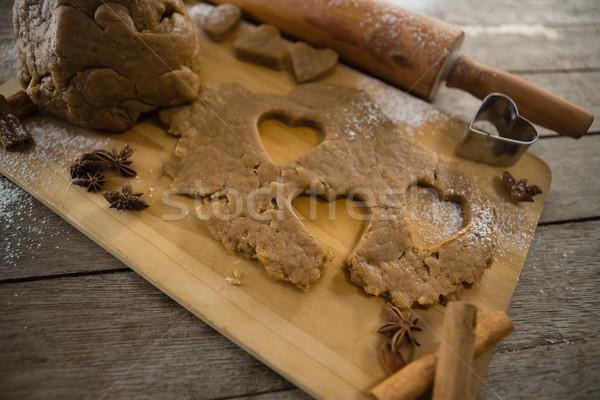 Magasról fotózva kilátás sodrófa vágódeszka fa konyha Stock fotó © wavebreak_media
