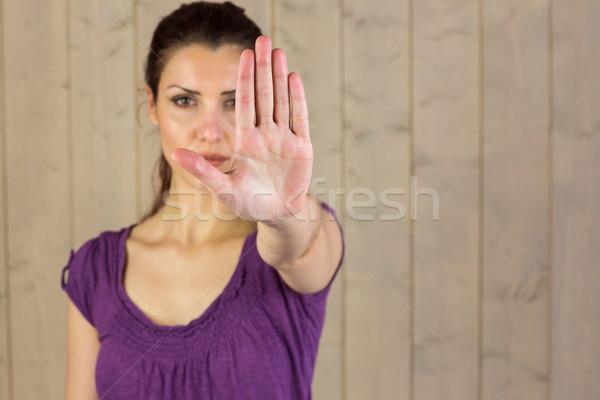 Portre güzel bir kadın dur işareti ayakta kadın ev Stok fotoğraf © wavebreak_media