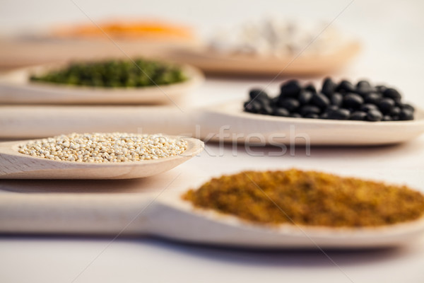 Wooden spoons of pulses and seeds Stock photo © wavebreak_media