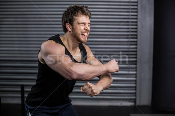 Sorridere montare uomo urlando crossfit palestra Foto d'archivio © wavebreak_media