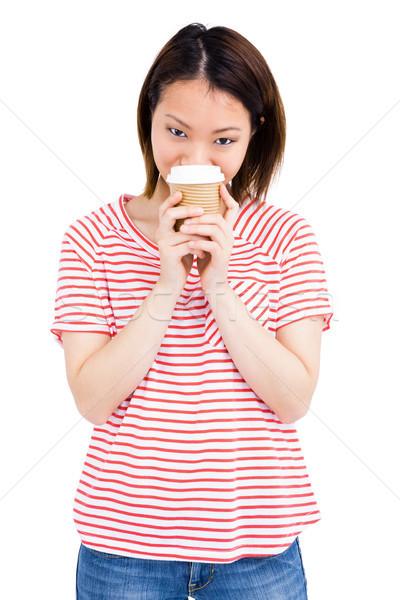Mutlu kadın tek kullanımlık kahve fincanı portre Stok fotoğraf © wavebreak_media