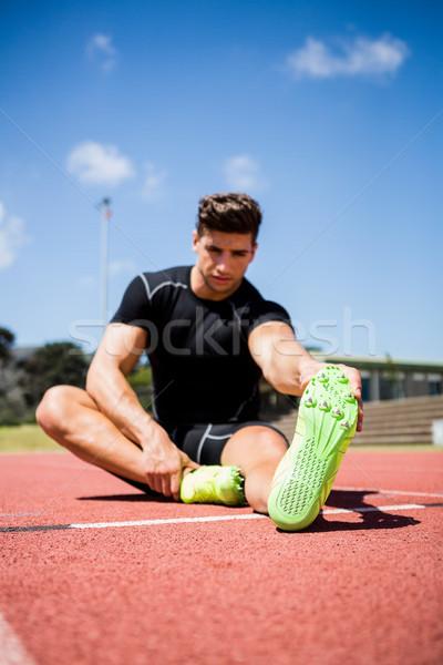 Atleet omhoog lopen track man Stockfoto © wavebreak_media