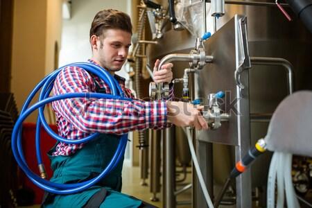Foto stock: Mantenimiento · trabajadores · examinar · cervecería · máquina · fábrica