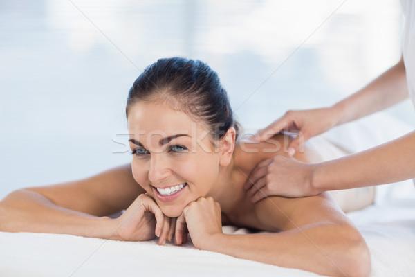 Stockfoto: Gelukkig · vrouw · massage · Maakt · een · reservekopie · spa