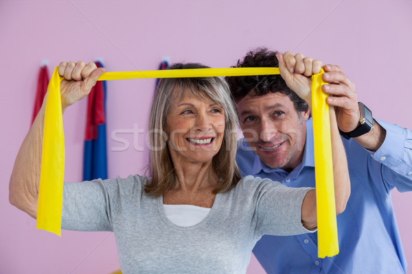 Senior mulher treinamento exercer banda homem Foto stock © wavebreak_media