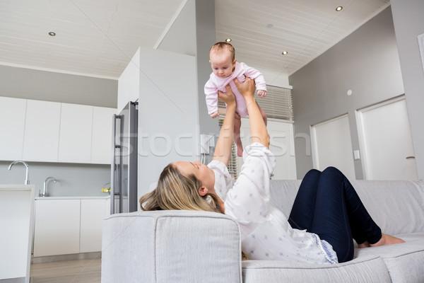 Moeder spelen baby home vrouw liefde Stockfoto © wavebreak_media