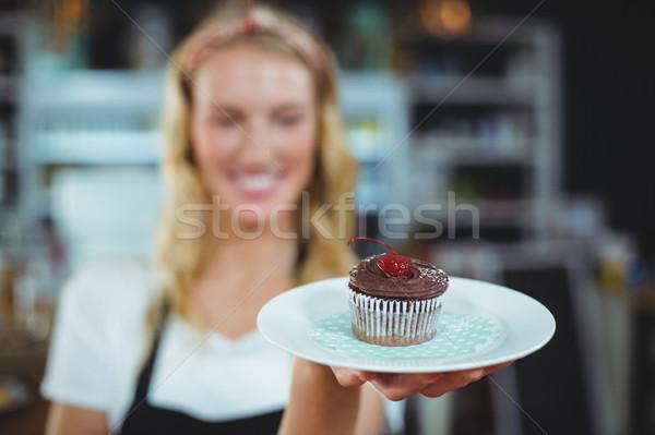 Serveerster plaat vrouw voedsel Stockfoto © wavebreak_media