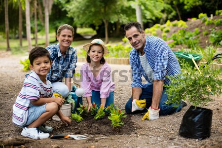 Father and daughter potting a plant in pot at backyard Stock photo © wavebreak_media
