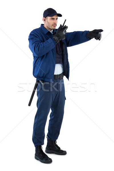 Güvenlik subay konuşma adam mutlu eğlence Stok fotoğraf © wavebreak_media
