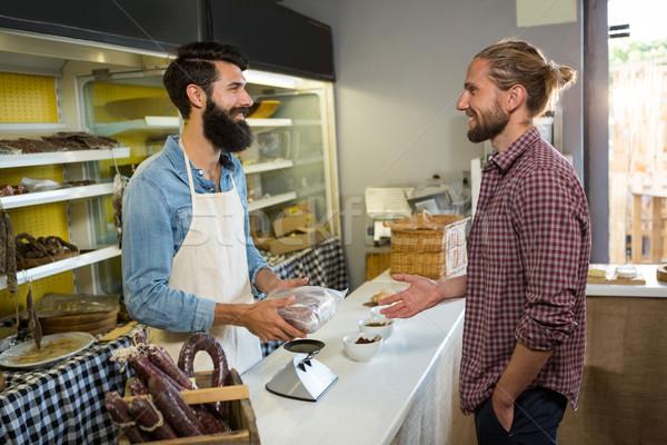 笑みを浮かべて 顧客 肉 カウンタ 市場 ビジネス ストックフォト © wavebreak_media