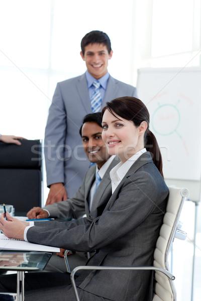 Negócios internacionais pessoas sorridente câmera apresentação computador Foto stock © wavebreak_media