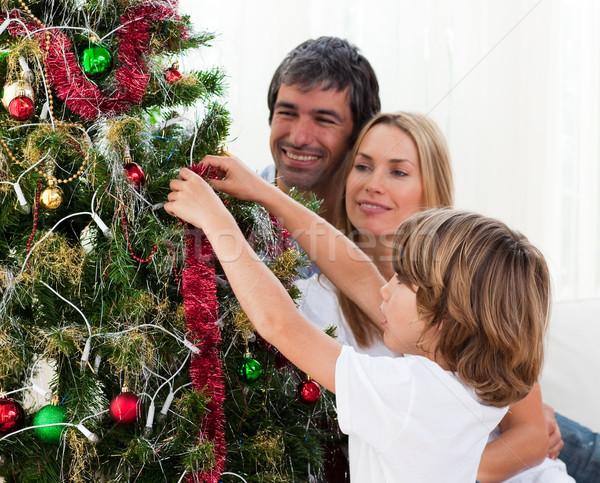 Foto d'archivio: Piccolo · ragazzo · impiccagione · Natale · decorazioni · genitori