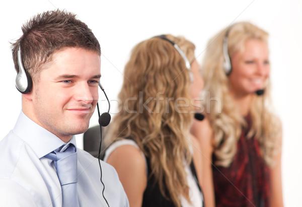 Trzy osoby call center trzy pracy działalności biuro Zdjęcia stock © wavebreak_media