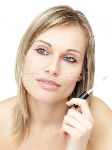 Portret mooie vrouw glans witte glimlach Stockfoto © wavebreak_media