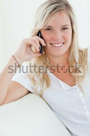 Derűs nő alsónemű beszél telefon lány Stock fotó © wavebreak_media