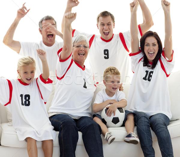 Familie kijken voetbal wedstrijd vieren doel Stockfoto © wavebreak_media