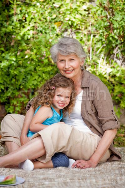 Grandmother with her granddaughter in the garden Stock photo © wavebreak_media