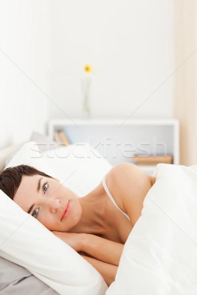 Ritratto cute donna up camera da letto casa Foto d'archivio © wavebreak_media