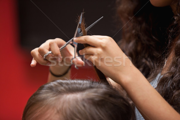 Close up of a hand cutting hair with a scissor  Stock photo © wavebreak_media