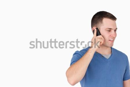 Schöner Mann Telefon weiß Gesicht glücklich Telefon Stock foto © wavebreak_media