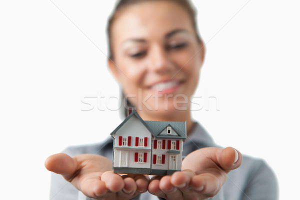 Miniatura casa femminile agente immobiliare bianco Foto d'archivio © wavebreak_media