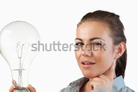 üzletasszony hatalmas villanykörte fehér kéz boldog Stock fotó © wavebreak_media
