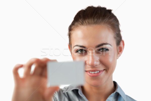 Zakenvrouw tonen visitekaartje witte business Stockfoto © wavebreak_media