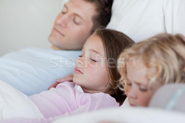 Vader dutje samen kinderen meisje Stockfoto © wavebreak_media