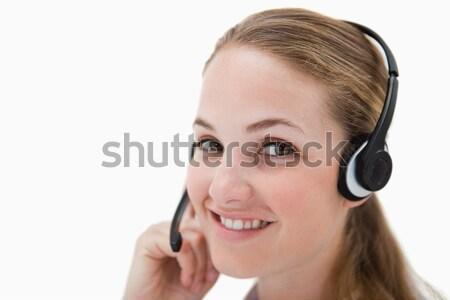Zdjęcia stock: Widok · z · boku · uśmiechnięty · call · center · agent · zestawu · biały