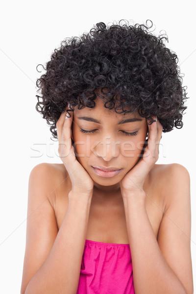 Adolescente sério mãos cara soar Foto stock © wavebreak_media